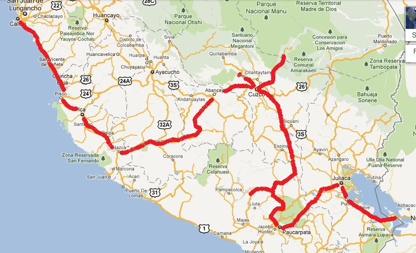 Campsite listing south america panam notes rough idea of our route through southern peru sciox Choice Image