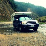 The beast pulls the unwilling camper through another water crossing